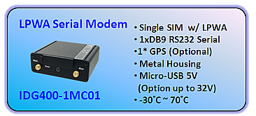 IDG400-IMC01 Single SIM LPWA RS232 Serial modem router